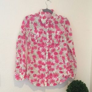 Lilly Pulitzer Daisy Print Long Sleeve Button | XS